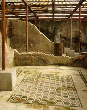 Villa of the Papyri -mosaic flooring from the upper floor